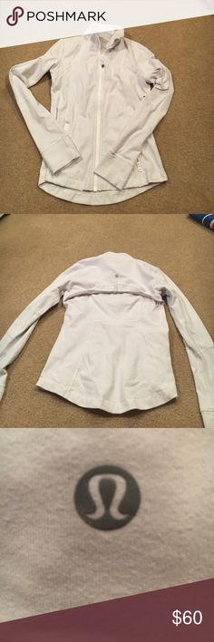Lululemon White Define Jacket Good Condition.. Lululemon White Define Jacket. Has working zippers and thump holes. lululemon athletica Tops Sweatshirts & Hoodies
