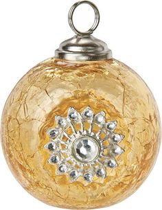 Amber Yellow Place Card Holder (jewel glass bauble)