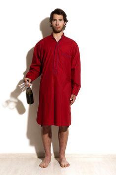 Camicia da notte Percalle, 100% cotone. Rosso Adrianopoli è il colore scelto per il capo maschile più audace della collezione.