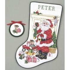 Santa At Work Christmas Stocking - Cross Stitch Kit