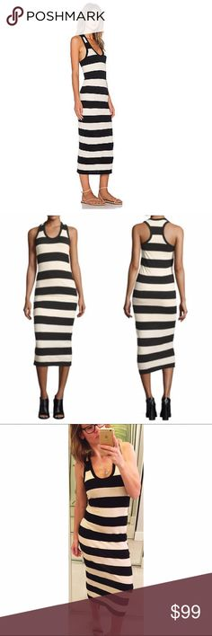 """➡️James Perse Striped Jersey Midi Dress⬅️ 💕Breezy midi dress knit from a super soft jersey blend of cotton and linen. Crisp horizontal stripes in black and natural (cream) color. Size 1, which is a small. James Perse definitely means quality and style that is timeless. Latest season. Worn on set only and has actress' initials on the tag. 💕51""""L from shoulder to hem. Scoop neckline; racerback. Machine wash. 💕Offers welcome. Take 30% off your entire purchase automatically at checkout when…"""