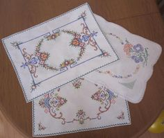 Three Large Vintage Linen DOILIES 47cms x 31cms 46cms x 33cms 42cms x 29cms In good vintage condition as photos show and I have taken several for you to peruse which is sometimes better than a verbal description. *Washed *Starched *Ironed so comes to you ready to use.