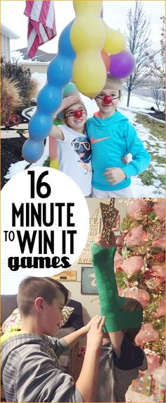 16 Minute to Win It Christmas Games.  Hilarious games for all ages.  Great games for class Christmas parties, adult Christmas parties and family holiday gatherings.  Christmas birthday party games.