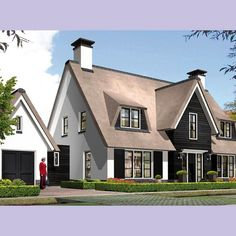 Villabouw Koninginnenpage voorzijde Garden Architecture, Modern Architecture, House Front, My House, Thatched Roof, Moving House, House Rooms, My Dream Home, Future House