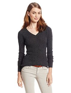 Bela.nyc Women's 100% Cashmere Cable V-Neck Sweater in Dark Charcoal - http://www.womansindex.com/bela-nyc-womens-100-cashmere-cable-v-neck-sweater-in-dark-charcoal/