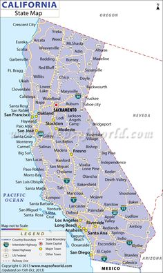 map of major cities of california maps california city