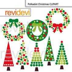 Clipart Christmas Polkadot Christmas 08154 xmas trees by revidevi