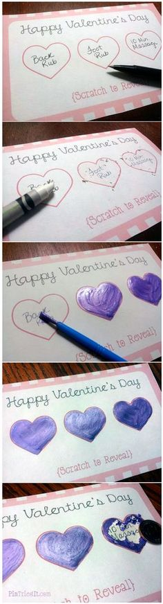 Valentine's Day Scratch Off Tickets - layer of crayon, and then acrylic paint mixed with dish soap