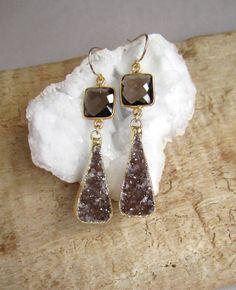 Brown Druzy Earrings Drusy Smokey Quartz Gold by julianneblumlo, $135.00