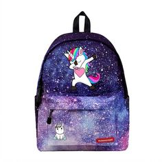 Leather Cute Unicorn On The Purple Background Backpack Daypack Bag Women