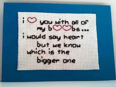 For Him Card, Embroidery and Hand Stitched Card, Funny Card, Gift For Him www.benedettacrafty.com