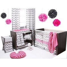 Bacati Ikat 6-Piece Crib Bedding Set, Pink/Grey/walmart