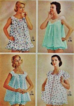 late 1950's/ 1960's baby dolls, frilly sleepwear.