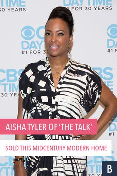 "The co-host of ""The Talk"" is hoping someone will say they want to buy her stylish home. Take a look at Tyler's stunning LA pad! Aisha Tyler, Frugal Tips, Celebrity Houses, Midcentury Modern, Photo Credit, Mid Century, Take That, Lifestyle, Stylish"