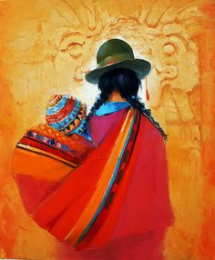 'Marche de San Cristobal'' by Georges Corominas Art Péruvien, Art Latino, Mexican Paintings, Peruvian Art, Southwest Art, Indigenous Art, Mexican Folk Art, Native American Art, Fabric Painting