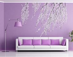 Elegant Cherry Blossom Wall Decal Cherry Wall Art Removable Vinyl Cherry Blossoms Wall Sticker for living room tree Branch stickers on Etsy, 38,02€