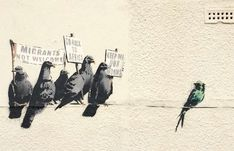 Banksy is a fictional name of a street artist in England. Banksy began his graffiti art in early Started with freehand and gradually grew into stencils. His work slowly started getting recogn… Banksy Graffiti, Street Art Banksy, Banksy Artwork, Banksy Canvas, Bansky, Urbane Kunst, Bird Poster, Political Art, Poster Prints
