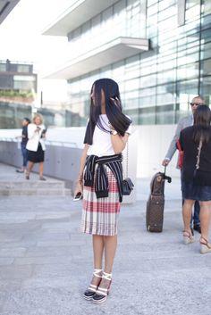Milan Fashion Week street style - tartan by Celine
