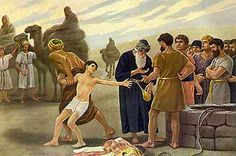 Joseph is sold as a slave after his brothers throw him in a pit. Genesis 37:18-36