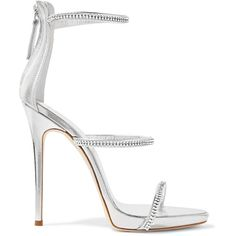 528ce0b05aaca3 Giuseppe Zanotti Crystal-embellished metallic leather sandals (55.015 RUB)  ❤ liked on Polyvore