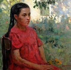 RUSSIAN ARTIST OIL PAINTING OF YOUNG WOMAN FROM WESTCHESTER ESTATE BEAUTIFUL