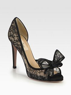 Valentino - Lace Couture Bow dOrsay Pumps - Saks.com