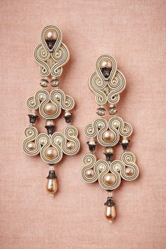 Candelabra Earrings in Shoes & Accessories Jewelry Earrings at BHLDN Jewelry Accessories, Fashion Accessories, Jewelry Design, Fashion Jewelry, Copper And Pink, Soutache Earrings, Bhldn, Shibori, Beaded Embroidery