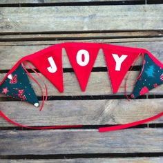 JOY red and white traditional Christmas fabric by EmmaBuntingUK