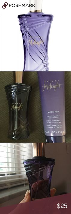 Belara Mightnight by Mary Kay Belara Midnight is a feminine perfume by Mary Kay. The scent was launched in 2013 Belara Midnight fragrance notes Pink pepper, Wild berries, Tropicalone Heart Notes, Egyptian jasmine, Black vanilla, Base notes,Sandalwood, Musk. Excellent condition no box Other