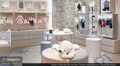 """Cách lựa chọn màu sắc nội thất tinh tế cùng lối trang trí nhẹ nhàng giúp thiết kế nội thất shop thêm cuốn hút. Bởi những khách hàng nhỏ tuổi này tuy đáng yêu nhưng cũng rất khó chiều đấy nhé! Để những vị khách này """"hợp tác mua sắm"""" tại đây bạn cần thiết kế shop thật bắt mắt. #saokimdecor #boutique #fashion #showroom #shop #designshowroom #designshop #thờitrang #carpet #chair #table #interior #interiordesign #design #designs  #interiors #インテリア #interieur #innenraum #nộithất Showroom Design, Interior Design, Baby Store Display, Clothing Store Displays, Store Design, Design Shop, Kids Zone, Mua Sắm, Closet"""