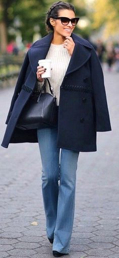 incredible fall outfit idea : coat + top + bag + jeans