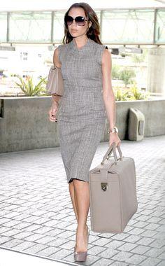 Marc Jacobs tweed shift dress, VB hand bag and luggage