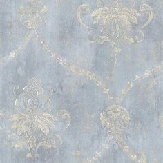 Blue Cream Weathered Damask Wallpaper | eBay