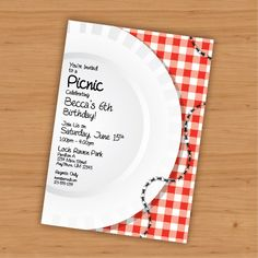Picnic Birthday Customizable Invitation  Digital by KtRazzDesigns, $20.00