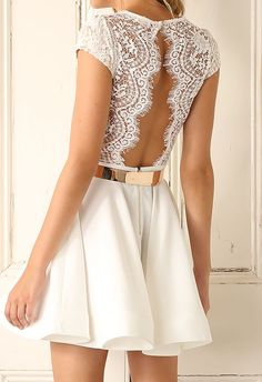 Shop V Neck Lace Insert Open Back Pleated Dress at ROMWE, discover more fashion styles online. Dress Skirt, Lace Dress, Dress Up, White Dress, White Lace, Skater Dress, Yellow Dress, Pink Dress, Bodycon Dress