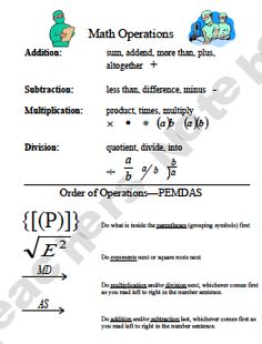 Order of Operations Vocabulary Helper
