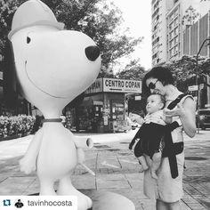 La #chicacomas @alinelamm com Max  e Snoopy usando seu Chemise Colete de Jeans  #comassp #upcycling