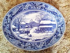 Johnson Bros of England, Historic America 20 in oval turkey platter!! Blue mark gives US patent no. so vintage. Gorgeous platter and would be soooo fab for buffet!!!