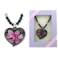 Black Heart w/ Flowers Art Glass Pendant Gift Boxed