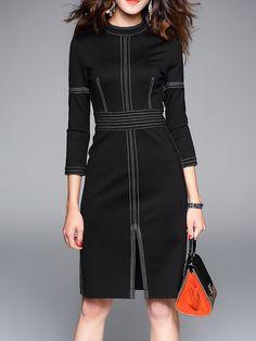 Shop Midi Dresses - Black Cotton-blend Simple Midi Dress online. Discover unique designers fashion at StyleWe.com.