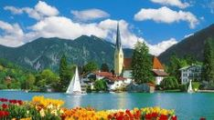 Rottach Egern Germany Lake Town Rest Boat Coast Vacation Sailboat Mountain Destination Flowers Sky Water Nice Summer Trees Beautiful Reflection Lovely Houses Pretty Village Shore Free Desktop Background