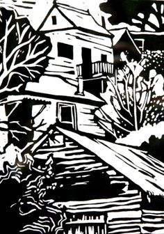✽ 'shed, walhalla' - helen timbury - linocut Woodcut Art, Linocut Prints, Art Prints, Block Prints, Scratch Art, Black And White Posters, Cityscape Art, Ink Pen Drawings, Woodblock Print