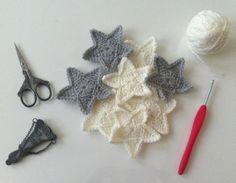 E comme... Etoile, diagramme et tuto gratuit en français, déco crochet, free pattern                                                                                                                                                                                 Plus