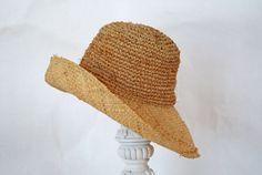 Vintage Floppy Straw Hat with wide Brim - Natural - Medium