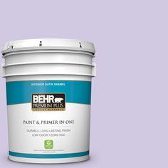 BEHR Premium Plus 5-gal. #650C-3 Light Mulberry Zero VOC Satin Enamel Interior Paint
