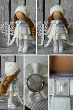 Winter Tilda doll Art doll handmade dark by AnnKirillartPlace