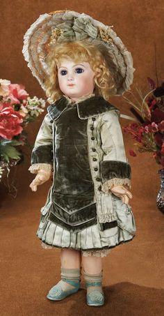 """Émile-Louis Jumeau (1843-1910) — 22"""" Bisque Bebe Jumeau,10X, Couturier Costume, Aqua Shoes, c.1880 (520x1000)"""