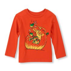 Long Sleeve Pumpkin Candy Graphic Tee | Boys' Fashion | Try all of our spook-tacular Halloween styles for kids, toddlers, and babies!