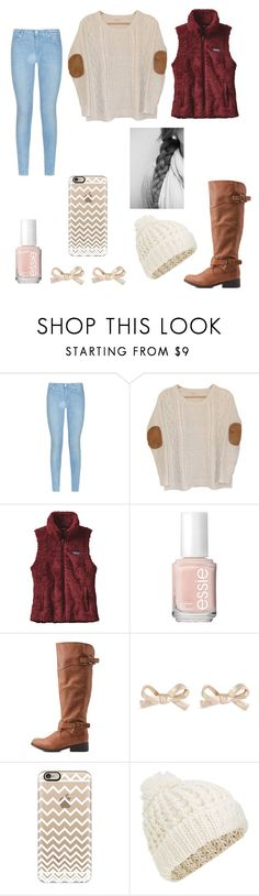 """""""Chilly Fall Day"""" by eglass183 ❤ liked on Polyvore featuring 7 For All Mankind, Urban Outfitters, Patagonia, Essie, Qupid, Kate Spade, Casetify and Accessorize"""