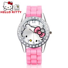 2017 Children Cute Hello Kitty Watches Kids Luxury Rhinestone Cartoon Watches Jelly Silicone Girl Watch Hour Gift montre enfant Check it out! Get it here